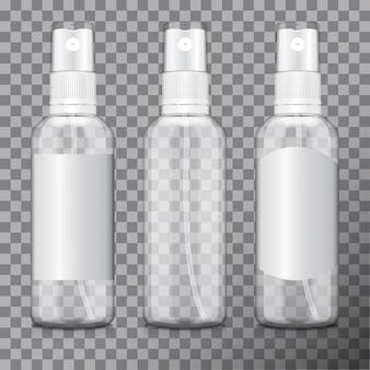 Bouteille transparente sertie d'atomiseur.