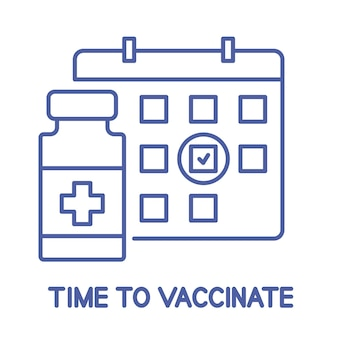 Bouteille de vaccin et icône de calendrier. icône de ligne de calendrier de vaccination. il est temps de vacciner. notion de vaccination. soins de santé et protection. traitement médical. trait modifiable. vecteur