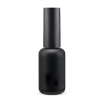 Bouteille de vernis à ongles noir vernis de manucure conteneur de cylindre rond illustration de pot d'émail de doigt