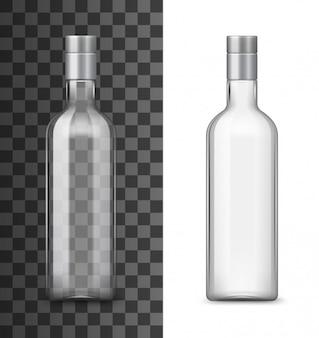 Bouteille en verre d'alcool boisson réaliste