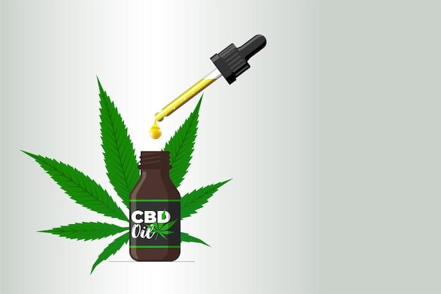 Bouteille en verre brun de bannière d'huile de cbd avec la feuille de chanvre et la goutte liquide d'extrait de cannabis de maquette de pipette