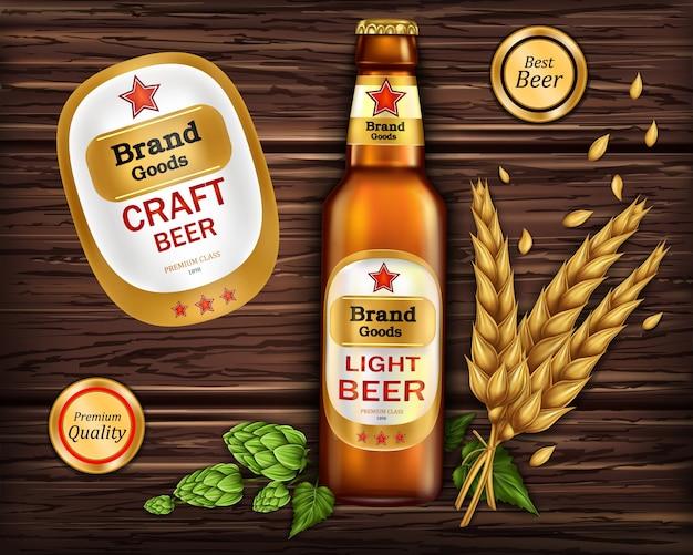 Bouteille en verre brun avec de la bière artisanale