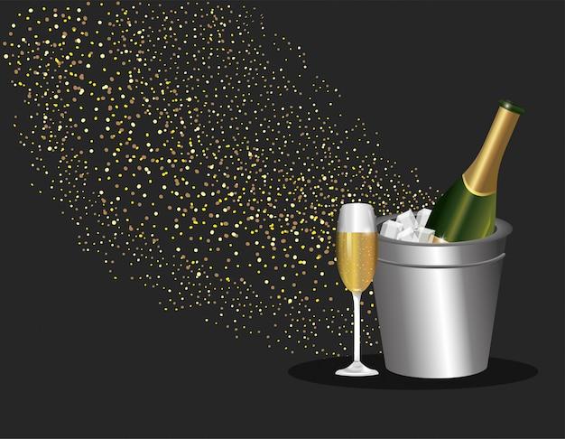 Bouteille et verre de champagne pour le nouvel an