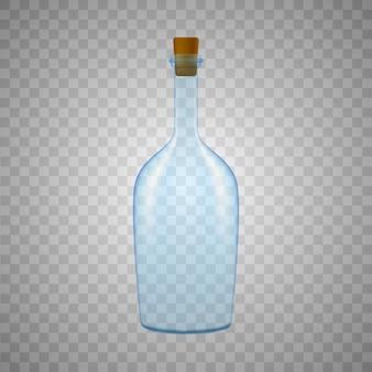 Bouteille en verre sur fond blanc