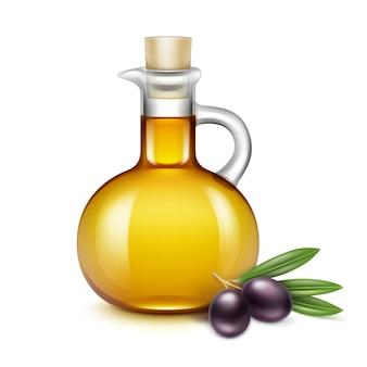 Bouteille en verre d'huile d'olive cruche pichet avec des branches d'olives sur des feuilles sur fond blanc