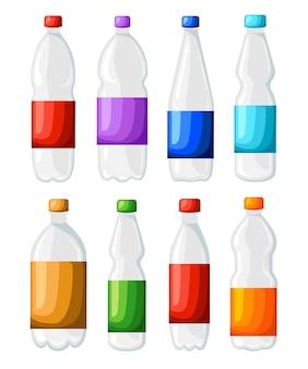 Bouteille et verre d'icône d'eau gazeuse fraîche dans le style sur fond bleu. illustration stylisée. page du site web et application mobile