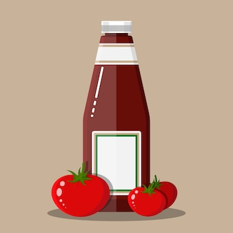 Bouteille en verre de ketchup traditionnel aux tomates