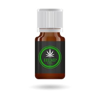Bouteille en verre marron réaliste avec de l'huile de chanvre, des extraits d'huile de cannabis en pots. logo de la marijuana médicale sur l'étiquette. illustration.