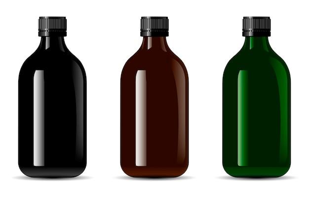 Bouteille en verre noir. paquet de conteneur 3d brillant