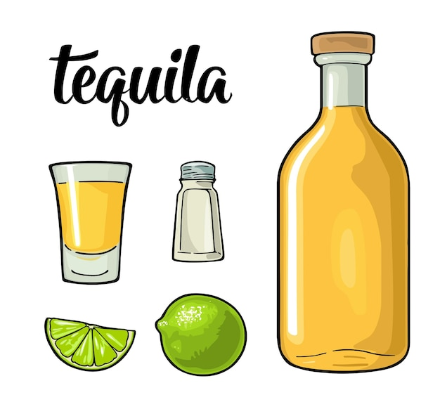 Bouteille en verre de sel et de chaux illustration vectorielle de couleur vintage pour l'affiche de l'étiquette isolée sur blanc