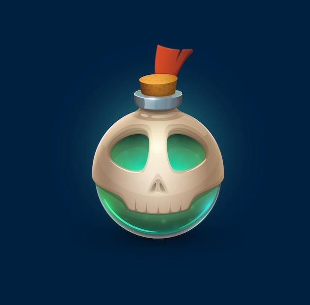 Bouteille en verre de sorcellerie avec crâne, potion empoisonnée