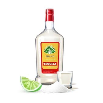 Bouteille en verre de tequila réaliste