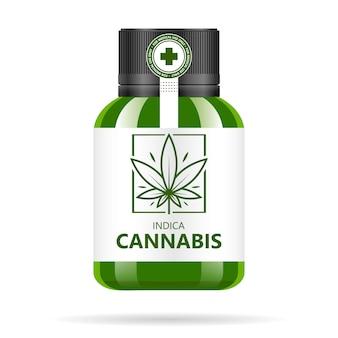 Bouteille en verre vert réaliste avec du cannabis. extraits, comprimés ou capsules d'huile de chanvre en pots. logo de la marijuana médicale sur l'étiquette. illustration.
