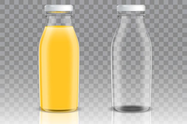 Bouteille en verre vide et pleine de jus d'orange