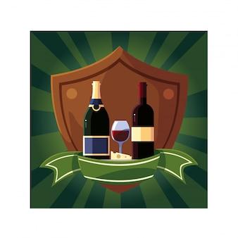 Bouteille et verre de vin en bouclier avec ruban