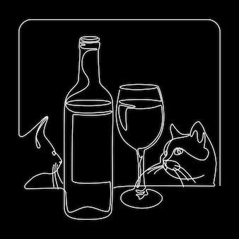 Bouteille et verre de vin avec des chats