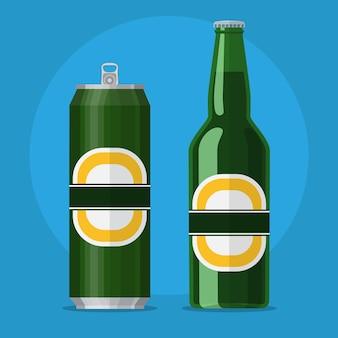 Bouteille verte et canette avec de la bière sur fond bleu