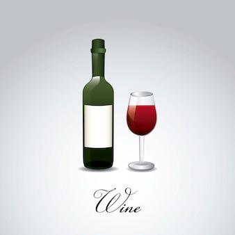 Bouteille de vin et coupe au cours de l'illustration vectorielle fond gris