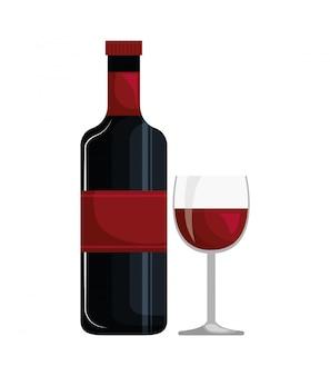 Bouteille de vin et coupe icône design isolé