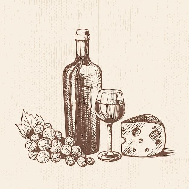 Bouteille de vin dessinée à la main avec une grappe de raisin en verre et un morceau de fromage