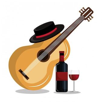 Bouteille de vin avec guitare icône isolé design