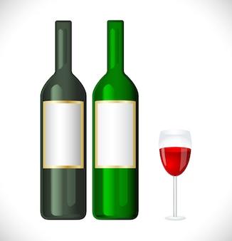 Bouteille de vin avec icône en verre