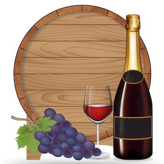 Bouteille de vin, raisin, vin en verre et tonneau en bois isolé sur fond noir, illustration vectorielle