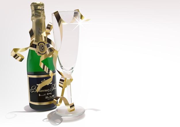 Bouteille de vin et verre avec des confettis dorés