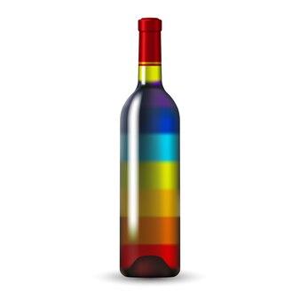 Bouteille de vin en verre de couleur arc-en-ciel