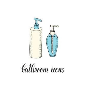 Bouteille vintage dessinée à la main avec gel douche et savon liquide ou shampoing dans un style croquis.