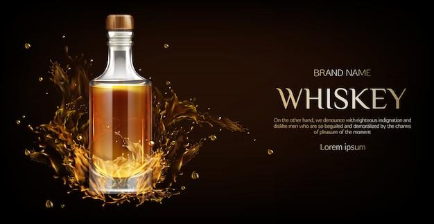 Bouteille de whisky sur dark