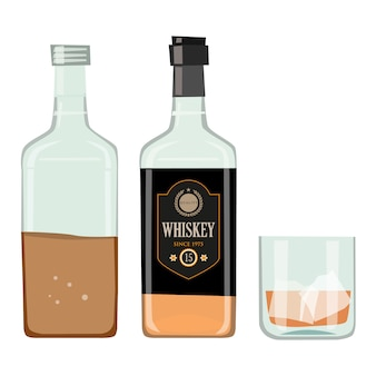 Bouteille de whisky avec verre à boire