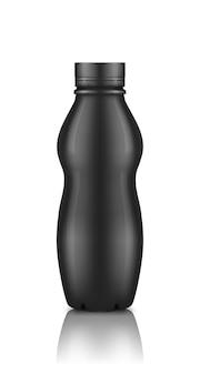 Bouteille de yaourt en plastique noir brillant avec maquette de bouchon à vis isolé sur fond blanc