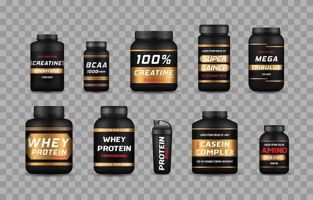 Bouteilles d'aliments sportifs et barres protéinées à faible teneur en sucre