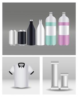 Bouteilles en aluminium avec sachets et chemises