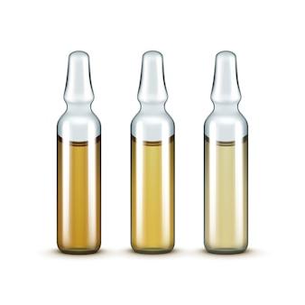 Bouteilles d'ampoules médicales en verre de vecteur isolés