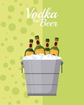 Bouteilles de bière dans un seau à glace