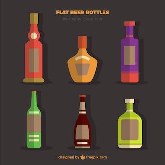 Bouteilles de bière flat pack en design plat