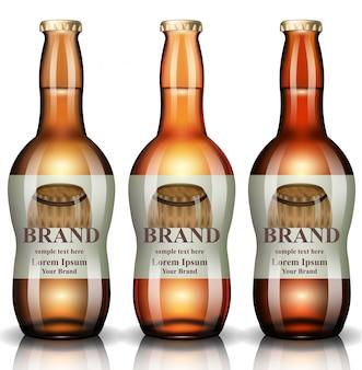 Bouteilles de bière réalistes, maquette d'emballage de produit