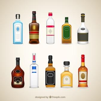 Bouteilles de boissons d'alcool