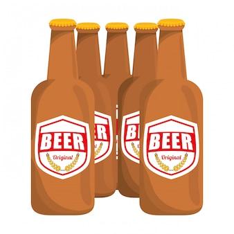 Bouteilles brunes d'icône de bière