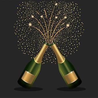 Des bouteilles de champagne éclaboussant pour fêter le nouvel an