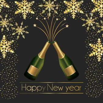 Bouteilles de champagne avec des flocons et étoiles décoration pour le nouvel an