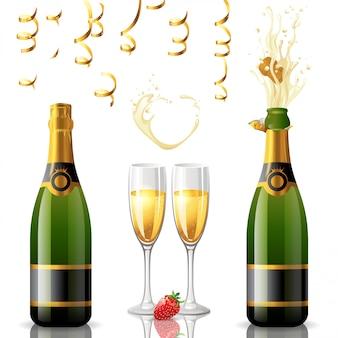 Bouteilles de champagne avec verre