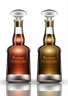 Bouteilles de cognac réalistes, maquette d'emballage de produit