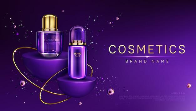Bouteilles de cosmétiques sur la bannière publicitaire du podium