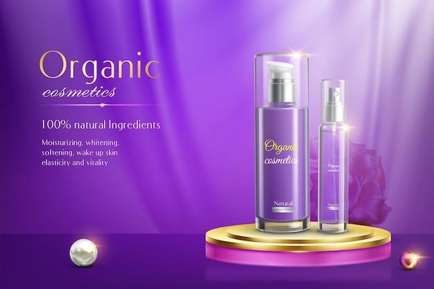 Bouteilles de cosmétiques sur bannière violet podium
