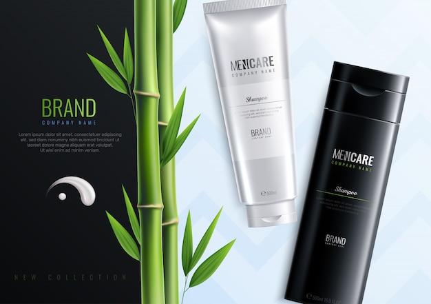 Bouteilles de cosmétiques pour hommes horizontales, bannière publicitaire avec le nom de l'illustration vectorielle de la marque