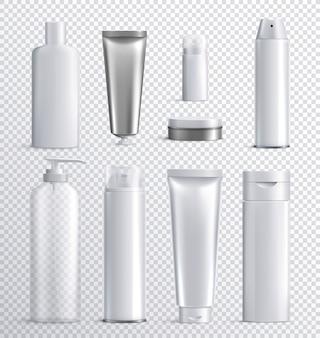 Bouteilles de cosmétiques pour hommes icône réaliste transparente sertie de fond transparent pour le shampooing en spray liquide ou l'illustration de soins de la peau