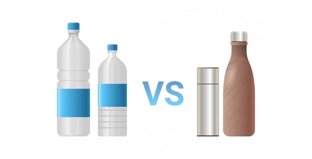 Bouteilles d'eau en acier inoxydable vs en plastique différents conteneurs de boissons concept zéro déchet fond blanc illustration horizontale